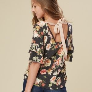 Altar'd State Risette Floral Ribbon Open Back Top